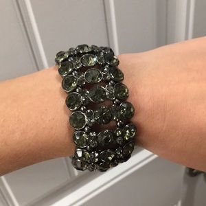 Dark Silver Rhinestoned Bracelet